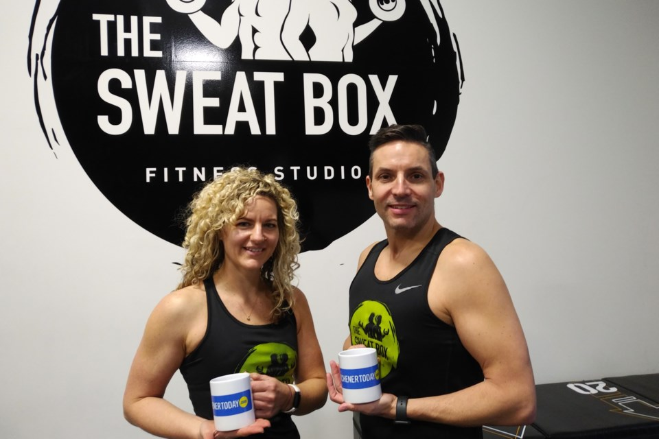 Christine and Marc Steiniger, co-owners of The Sweat Box Fitness Studio. Photo by Susan Cook-Scheerer
