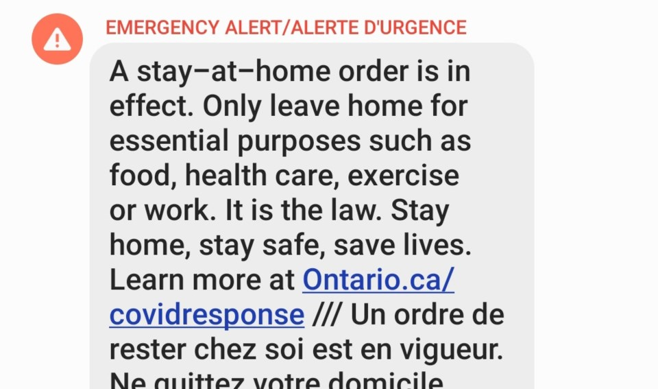 Emergency alert stay-at-home order