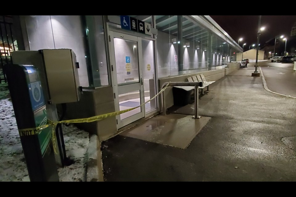 The crime scene at Guelph Central Station Thursday night. Mark Pare/KitchenerToday