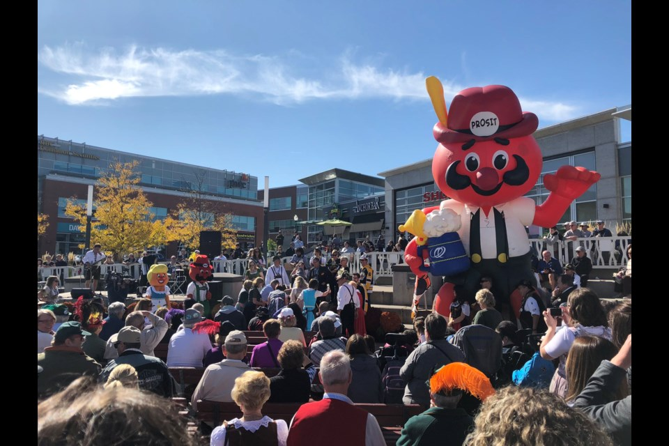 Hundreds gathered in Uptown Waterloo for an Oktoberfest luncheon on Oct. 10, 2019. Phi Doan/KitchenerToday