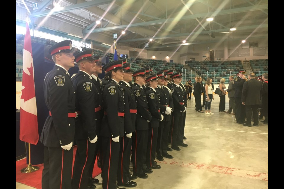 Regional Police welcome Class #100 into their ranks at a swearing-in ceremony at the Waterloo Memorial Recreation Complex. Phi Doan/ Kitchener Today