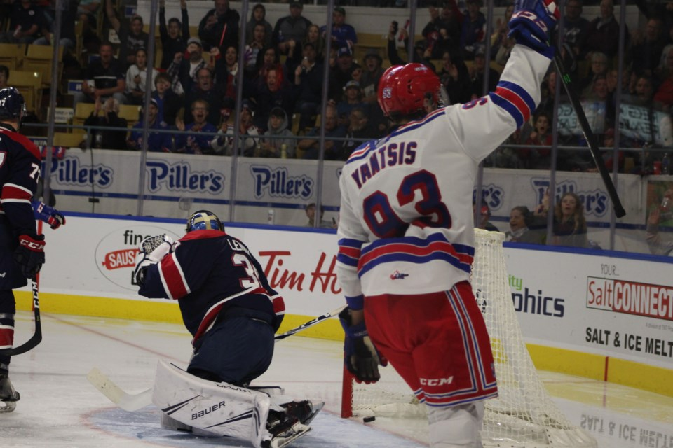 Jonathan Yantsis celebrates his second goal of the game against Saginaw.  Mark Pare/KitchenerToday