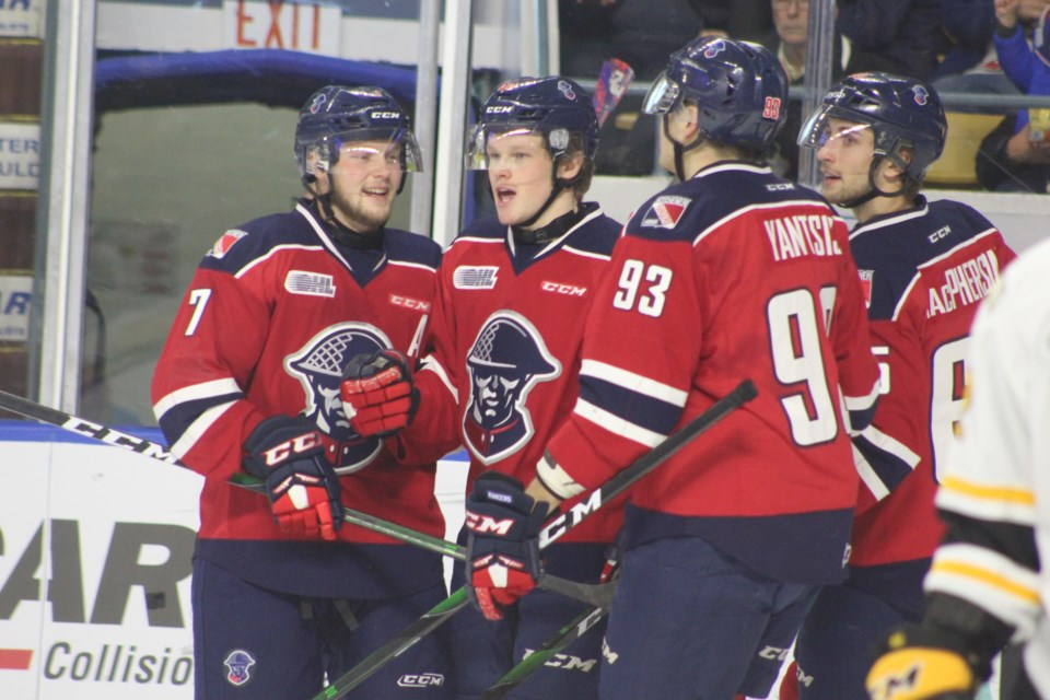 Kitchener forward Reid Valade scored twice, and added an assist in their win over Sarnia (Jan. 24, 2020).  Mark Pare/KitchenerToday