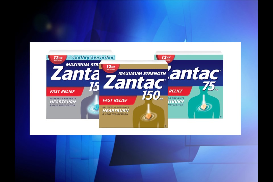 Recalled products include Zantac 75 mg (right), 150 mg Maximum Strength (middle), and 150 mg Maximum Strength Cooling Sensation (left.) Photo from Health Canada.