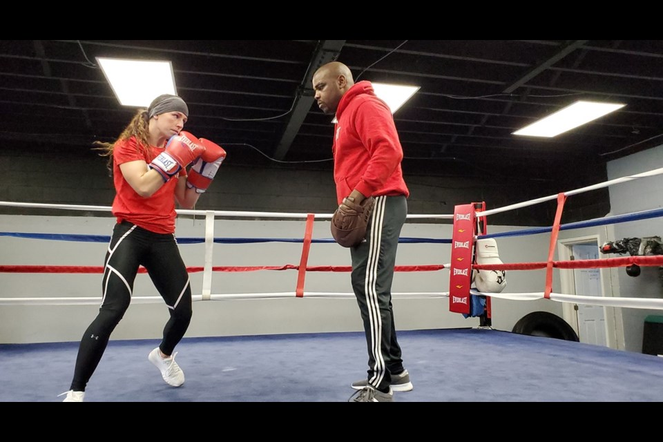 FILE PHOTO. Kitchener's Mandy Bujold (left) is in the ring, with eyes on a spot on Canada's Olympic team in women's boxing.  Mark Pare/KitchenerToday
