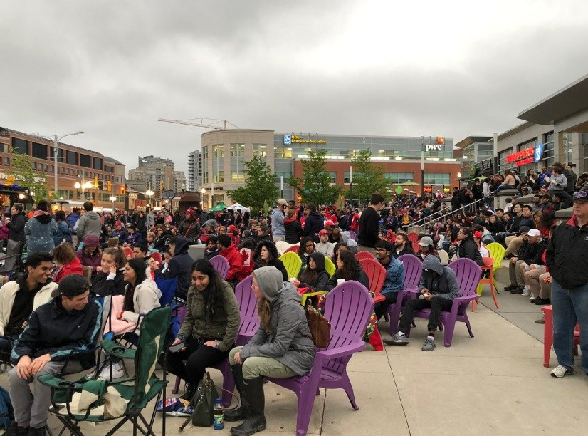 Uptown Waterloo becomes #WeTheNorthSquare for the NBA Finals.  Maddie Demarte/KitchenerToday
