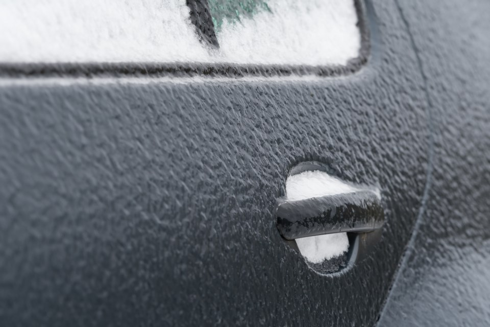 Freezing rain on car