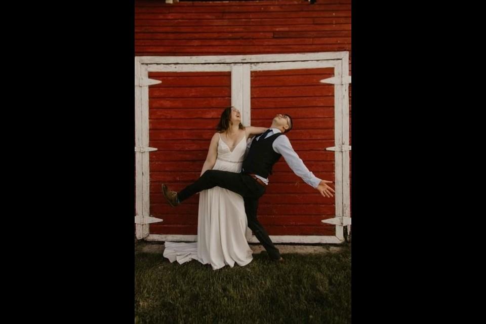 Kate Burman and Jon Lamkin on their wedding day at Landry Lake Ranch. Photo by Kadi Marie Photography