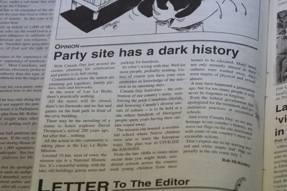 The June 22, 1999 editorial by Rob McKinley shows the challenges of celebrating culture at the site of a former residential school.