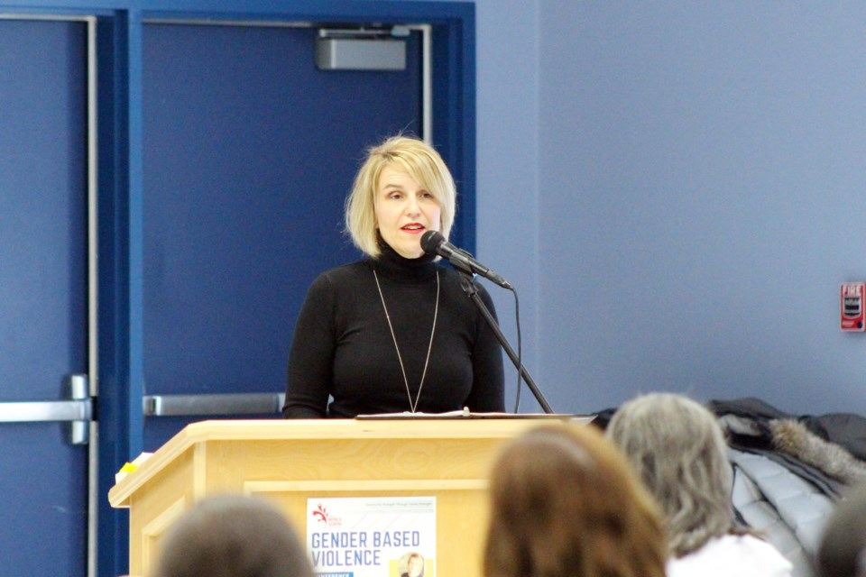 Keynote speaker Shannon Moroney shared her story of having to pick-up the pieces of her life after her husband was arrested for kidnapping and sexual assault. Photo by Robynne Henry.