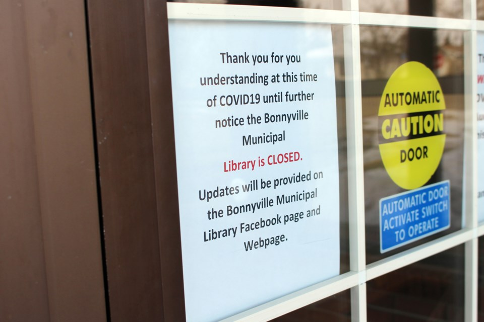A number of municipal facilities, including the Bonnyville Public Library, closed their doors last week due to the coronavirus. Photo by Robynne Henry.