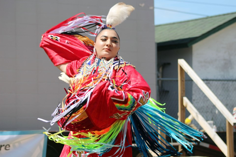 Jayda Gadwa performed the women's fancy dance during the Bonnyville Friendship Centre's National Indigenous Peoples Day celebration on Monday, June 22. Photo by Robynne Henry.