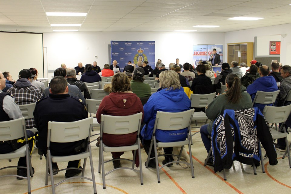 Residents braved the cold weather to discuss rural crime and the impacts seen locally. Photo by Robynne Henry.