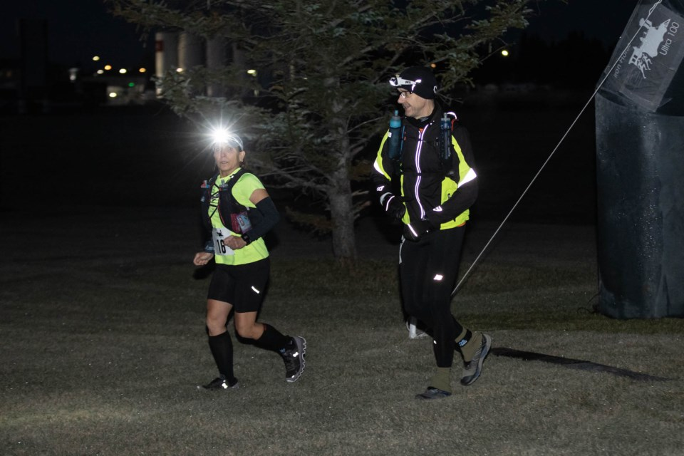 Runners were up before the sun, taking off from the start line of the Iron Horse Ultra 10 on Oct. 3. Janice Huser photo.