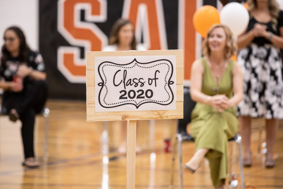 A sign welcomes the class of 2020 at the SPRHS graduation event, June 27. Janice Huser photo.