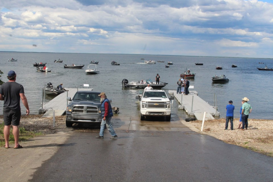 Organizers say more than 150 fisher-folk were on the lake as part of the first Walleye Cup two-day fishing derby.