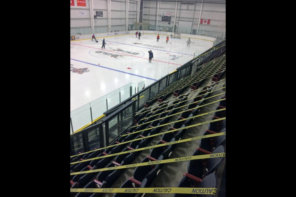 There have been a lot of changes — and continued changes — to this coming hockey season for hundreds of area athletes. Rinks are now open, but social distancing and other COVID protocols are in place. Spectator seating at Lac La Biche's Bold Center rinks continues to be restricted. Hockey registration deadline is Sept. 12.      Photo: Rob McKinley