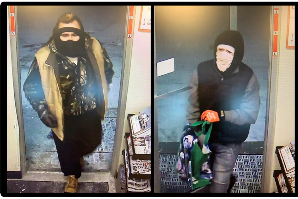 The suspect picture on the far left of this image has been positively identified as 22-year-old Preston Halfe. Police are asking anyone with information regarding his whereabouts, or who can help identify the second suspect in this photo, to contact the detachment.