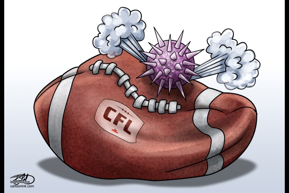 Lakelandtoday.ca cartoonist Patrick LaMontagne was quick to draw up his take on the CFL's announcement this morning to cancel the 2020 Canadian Football League season.  See RELATED story below