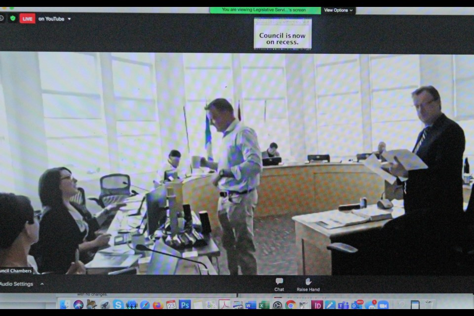 During a recess in Lac La Biche County council's recent meeting that was streamed online, the video feed continues although all of the audio is muted.