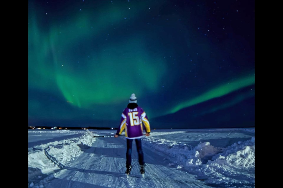 Otto Fayad took this photo of his son on Lac La Biche lake's skating trail Saturday night.      Otto Fayad.