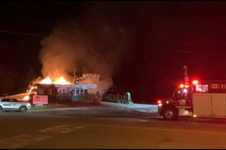 Nathan Thibert sent the POST this image and a video of the early Monday morning fire that destroyed the long-standing drive thru restaurant. The fire was the first of two deliberately set blazes in Lac La Biche to start the week.   LINK to Thibert's VIDEO can be found in the story.        IMAGE: Nathan Thibert
