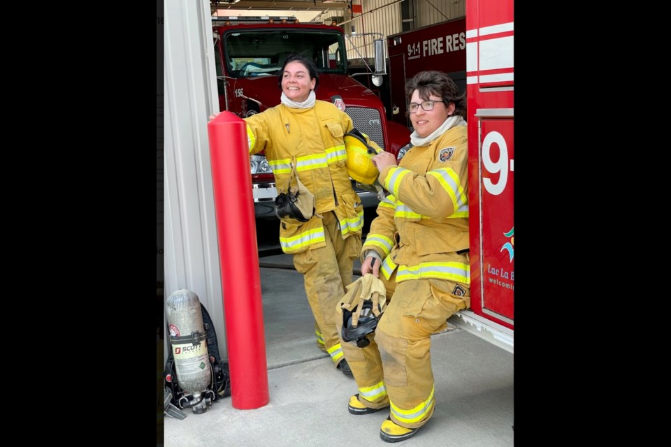 Firefighter cadet Brody Nowicki and firefighter Leah Larocque.