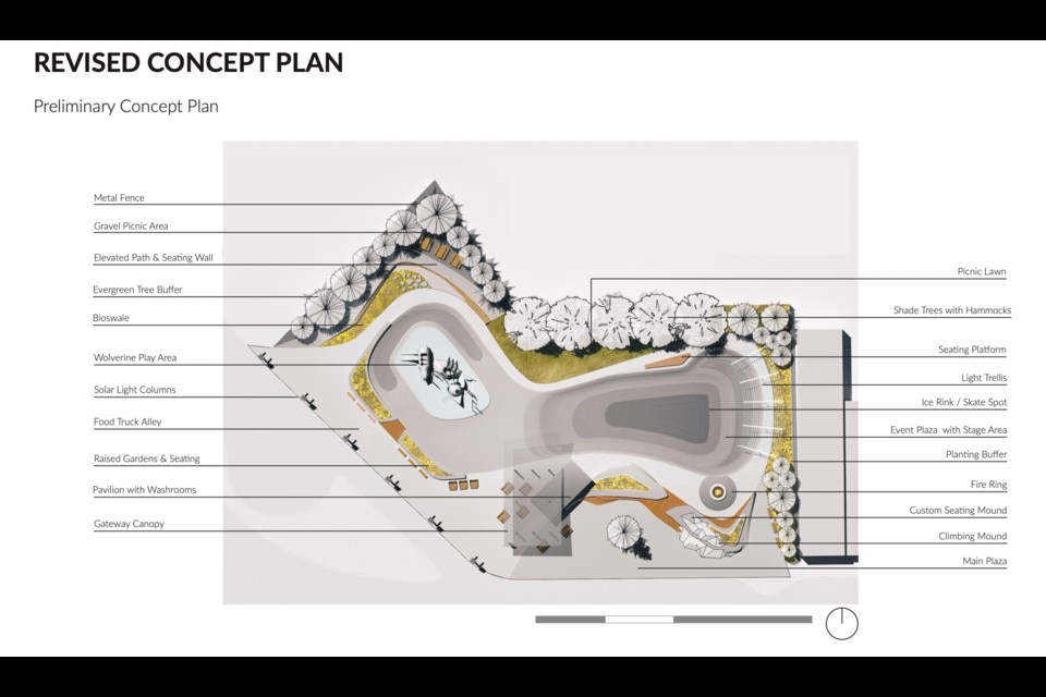 The city received a concept plan for the park from the architect.