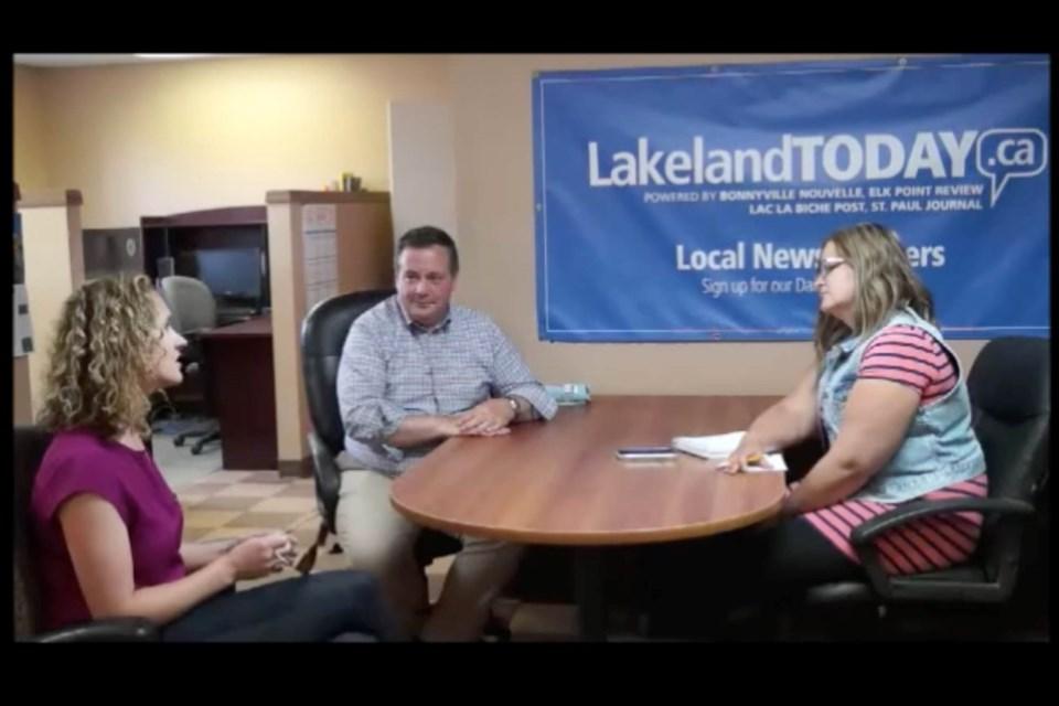 Alberta Premier Jason Kenney and Fort McMurray-Lac La Biche MLA Laila Goodridge had a Thursday night talk with LakelandToday.ca writer Janice Huser in the Lac La Biche POST's newsroom.