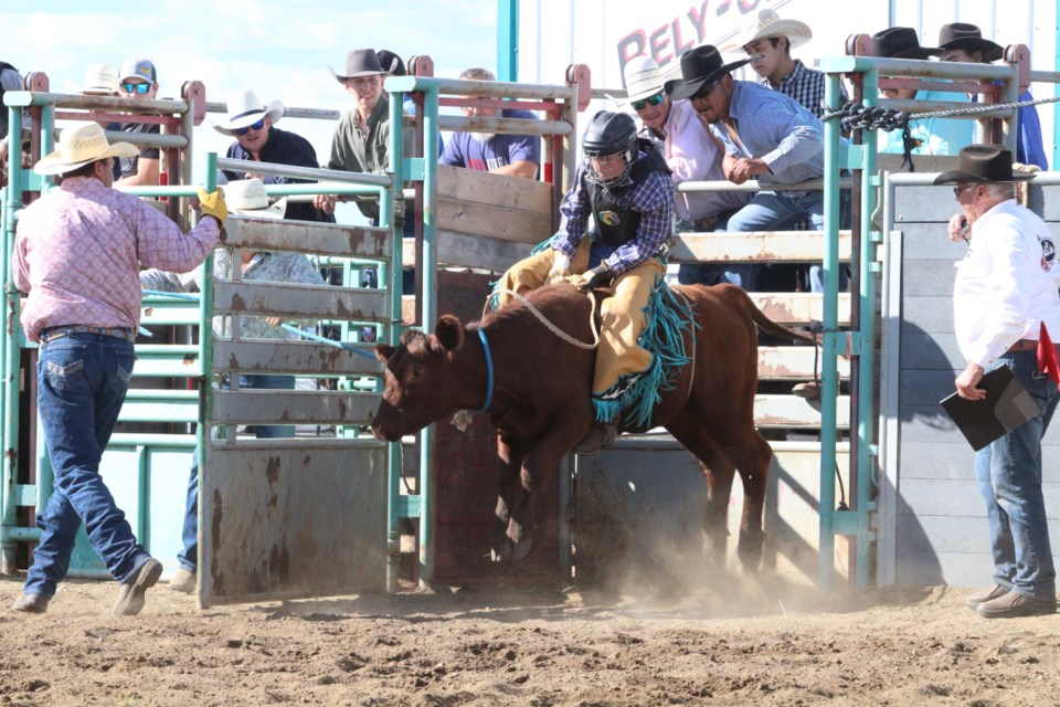 Junior steer rider Ryder Jackson-Cardinal from Kikino earned 70 points and top spot in the junior steer riding heat.