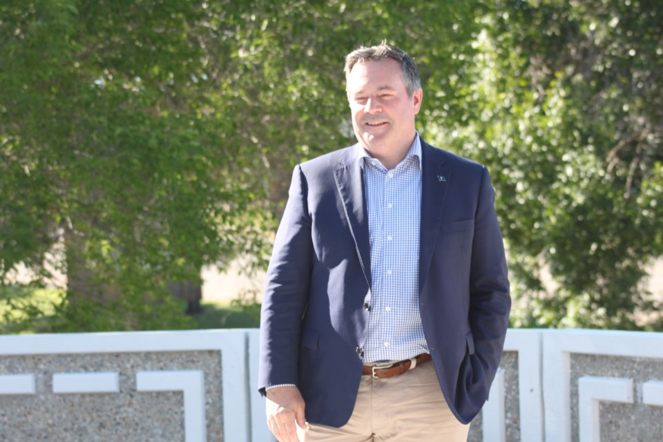 Premier Jason Kenney in good spirits during quick stop in St. Paul Wednesday.