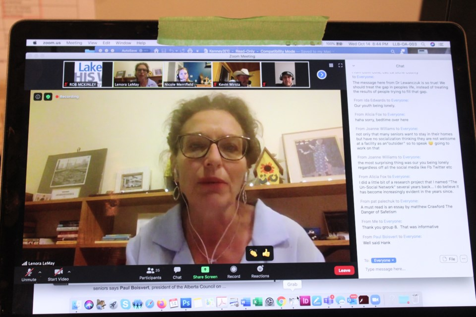 Lenora Lemay Ph.D. was part of last week's Zoom meeting with AHS and the Lakeland Communities Health Advisory Council.   Image Rob McKinley