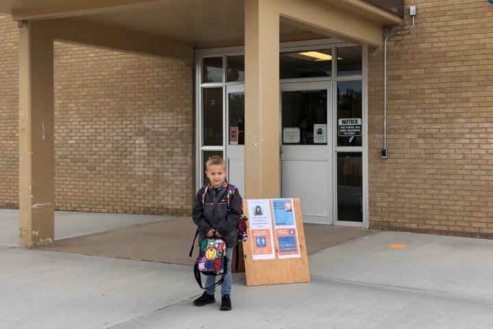 Mason Brodziak poses for a picture before heading into his first day of kindergarten at St. Paul Elementary School, Sept. 8. Photo supplied.