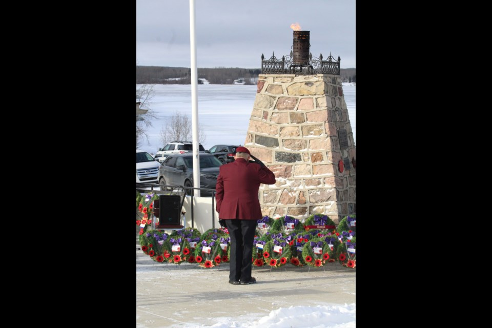 As the crowd of about 150 people dispursed from the ceremony, Metis Veteran Wally Sinclair found a quiet moment following the service to offer his personal tribute.        image Rob McKinley