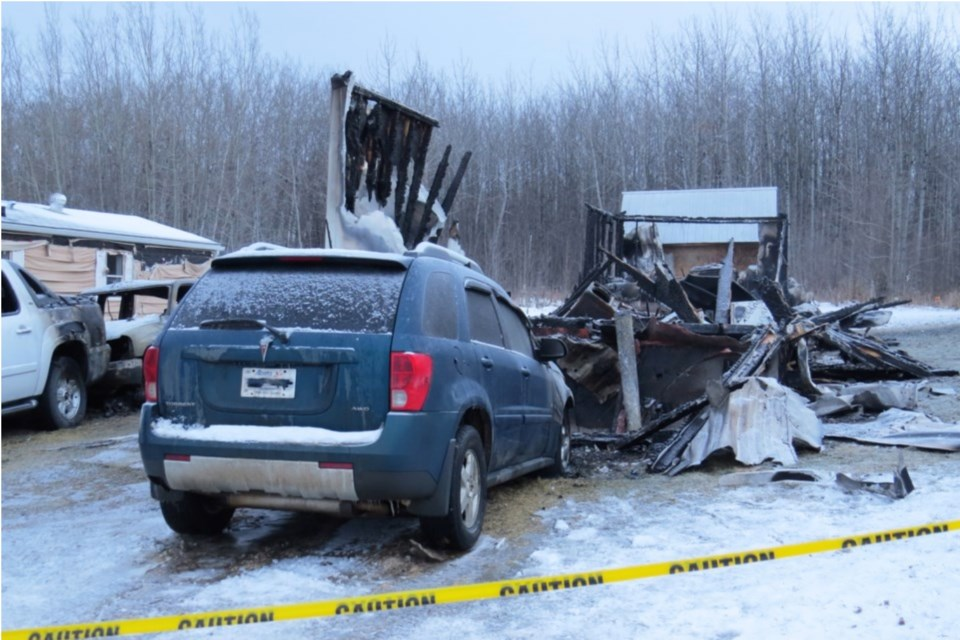 The burned remains of a mobile home where the remains of a woman were found last December in Boyle.      Image Bryan Taylor/AA