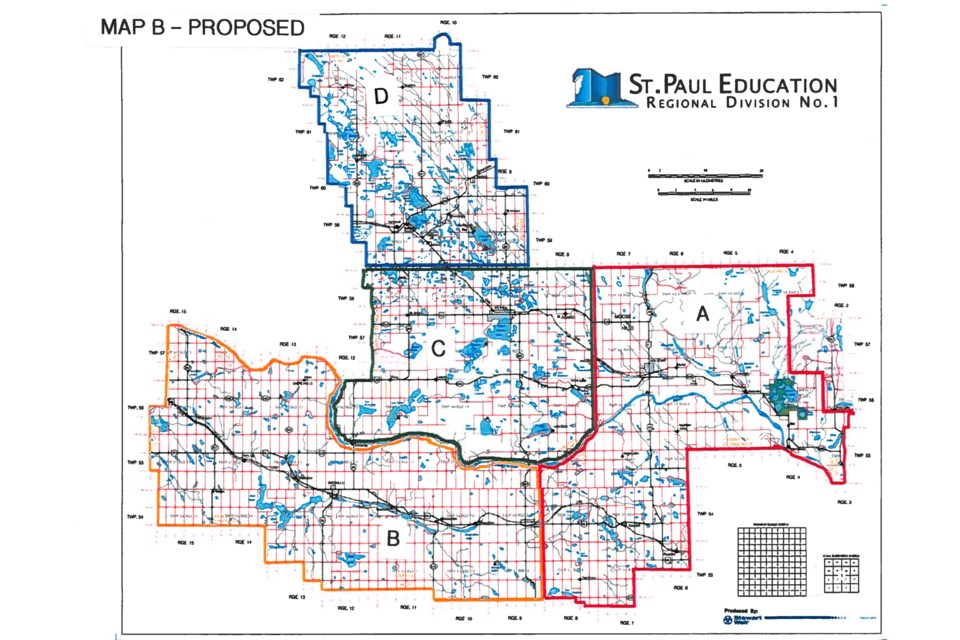 St. Paul Education has passed first reading of a new bylaw that will see the number of wards and trustees reduced by one. Pictured is the new map that is being put forward. Photo supplied.