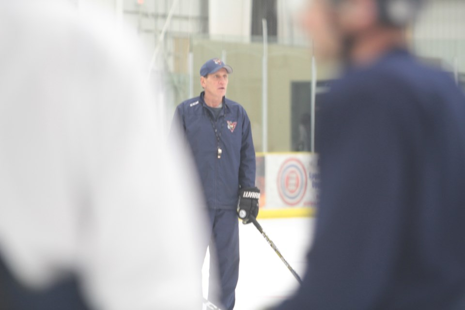 Former Edmonton Oiler and current Portage Voyageur assistant coach Kevin McClelland has been helping with pre-season conditioning camps at the Bold Center.        Image: Rob McKinley