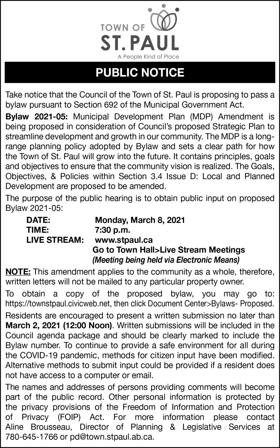 Town of St. Paul Public Notice