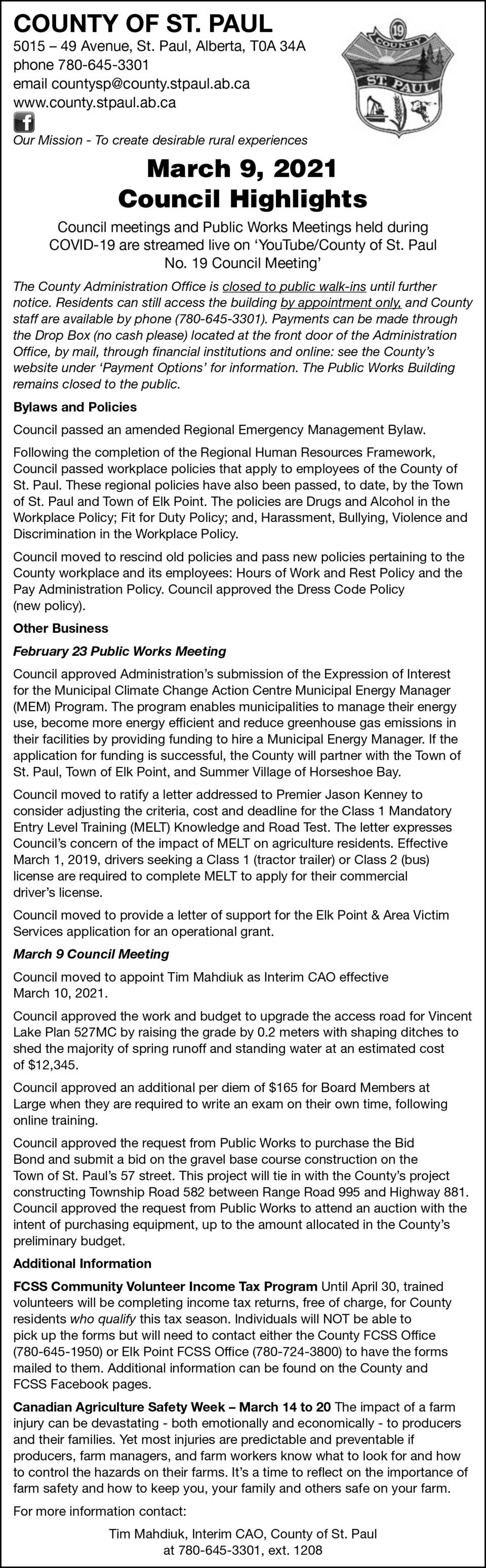 County of St. Paul Council Highlights