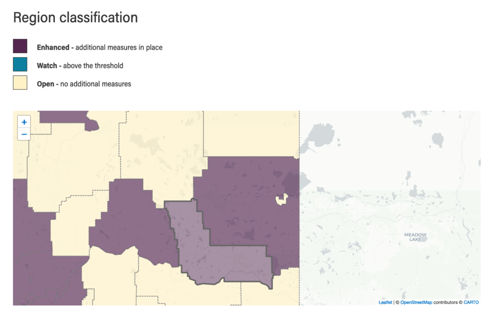 The purple area indicating neighbouring municipalities in enhanced restrition mode surrounds the southeast and west of Lac La Bcihe County.    Map courtesy Government of Alberta.