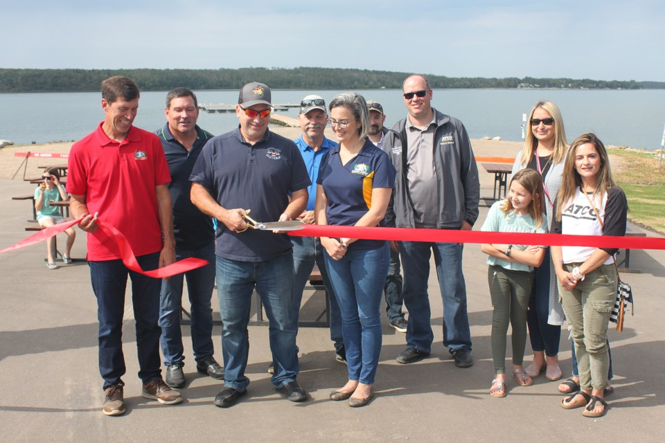 Representatives of the MD of Bonnyville including Reeve Greg Sawchuk, Coun. Darcy Skarsen, Guy Demers of the Lakeland Sports and Recreation Association, and funding partners including ATCO, were on hand for the official opening of the Vezeau Beach renewal project Aug. 27. The MD assumed ownership and operation of Vezeau Beach in 2019. The area was originally developed by a group of community volunteers who ran it for 20 years.