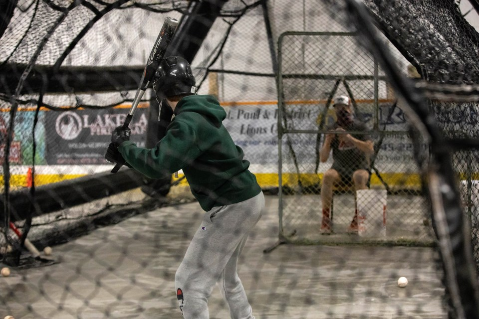 An indoor batting cage allowed for some batting practice during the camp.
