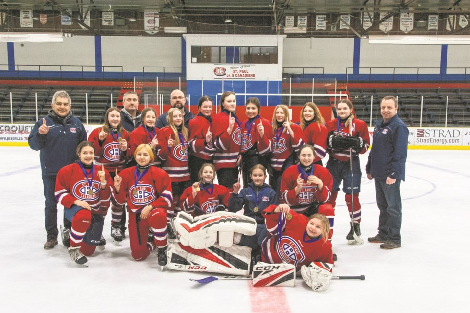 The Bantam Canadiens female hockey team took first place in their home tournament.