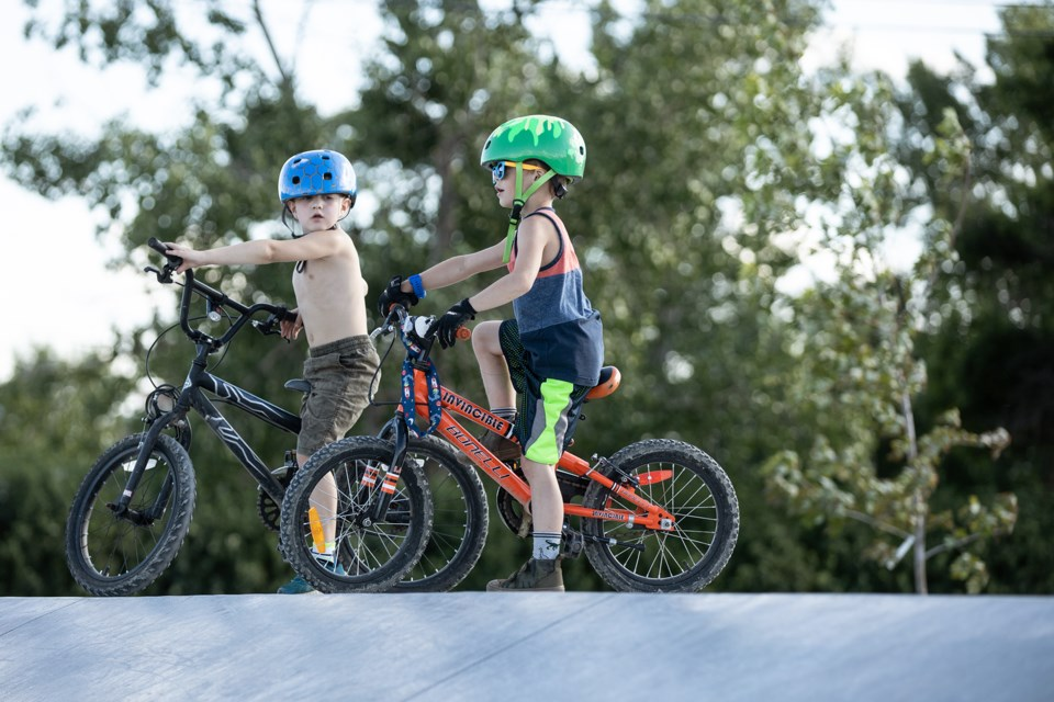 Children of all ages have been taking in the new skate park. Janice Huser photo.