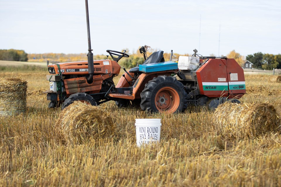 Roger Bachelet has found a niche market in making and selling mini round bales. Janice Huser photo.