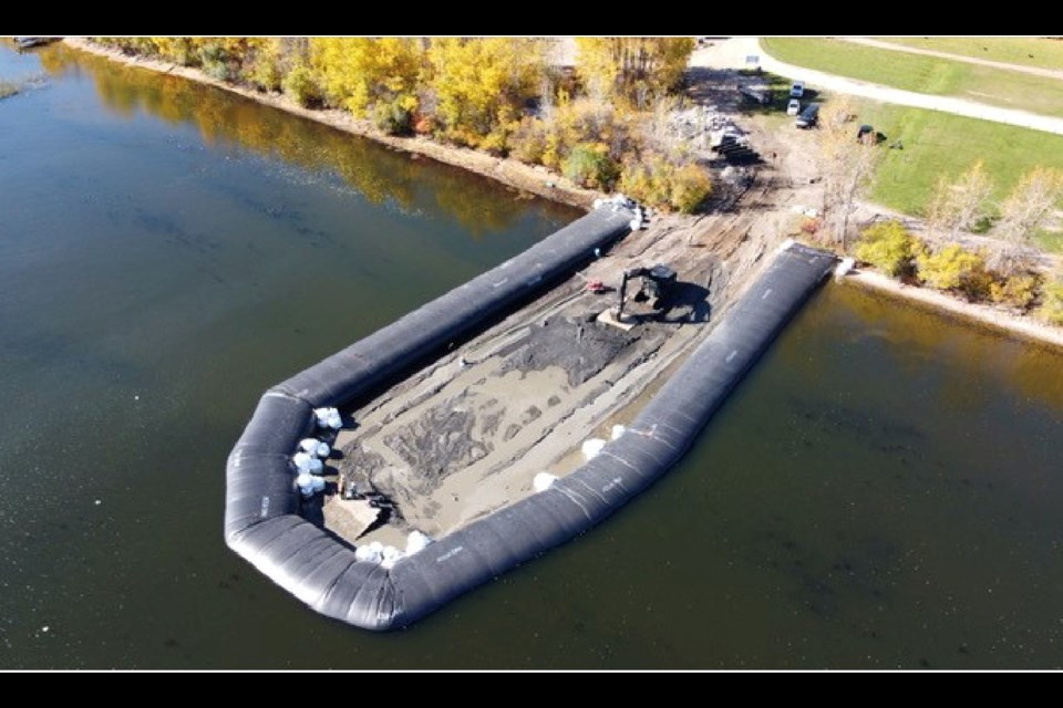 An inflatable dam around the construction site at Plamondon's White Sands Resort allowed crews to dismantle the old boat launch.         Submitted / LLB County