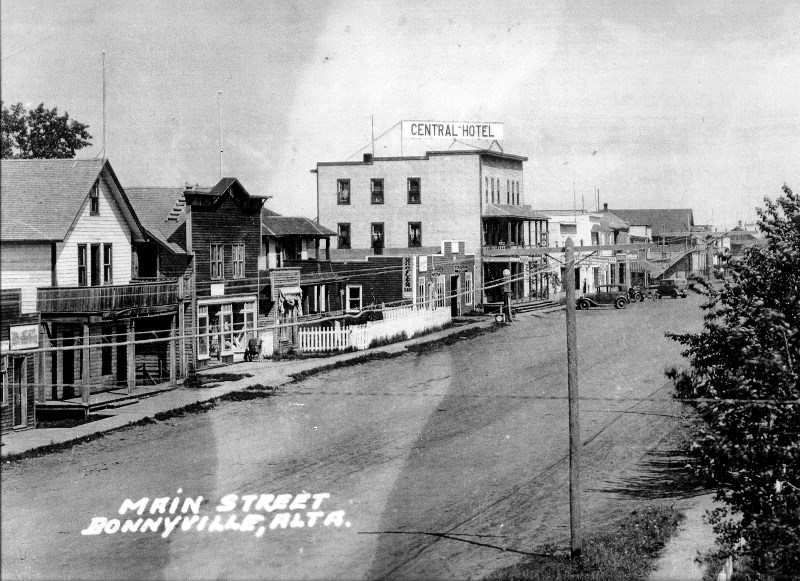 An early photo of Main Street in Bonnyville.
