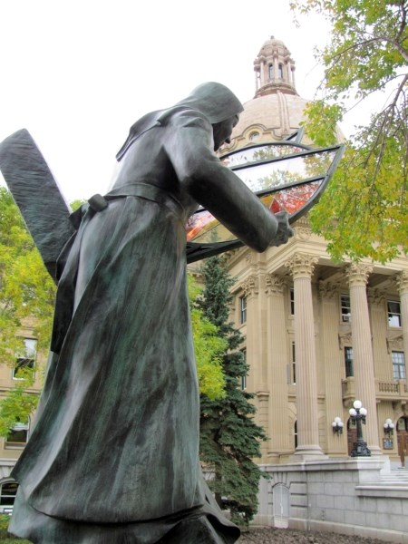 A monument to catholic sisters commisioned by Covenant Health by Herman Poulin was unveiled at the Alberta Legislature on Wednesday,