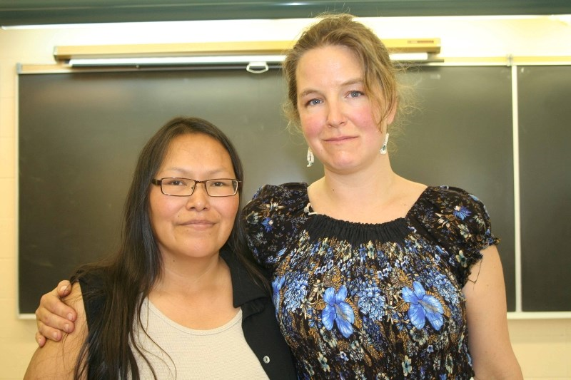 Marilyn Brighteyes and Sarah Salter Kelly took part in a healing circle on May 26, during Blue Quills' annual cultural camp.