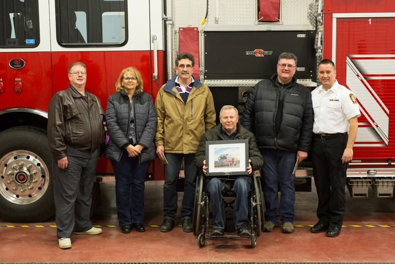 Town of St. Paul council and staff officially welcomed a new addition to the St. Paul Fire Department's fleet, Feb. 3. Pictured is also Fire Chief Trevor Kotowich (far